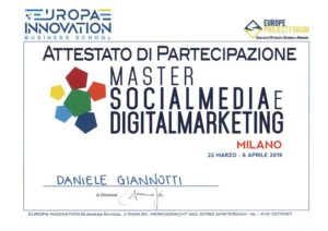 Attestato di partecipazione master social media e digital marketing